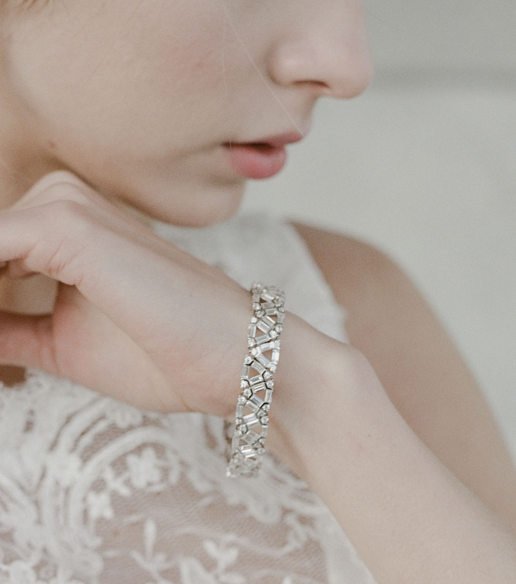 The Ava Baguette Statement Bracelet is a sterling silver and CZ bracelet featured in our Bridal Jewelry and Evening Jewelry Collections.