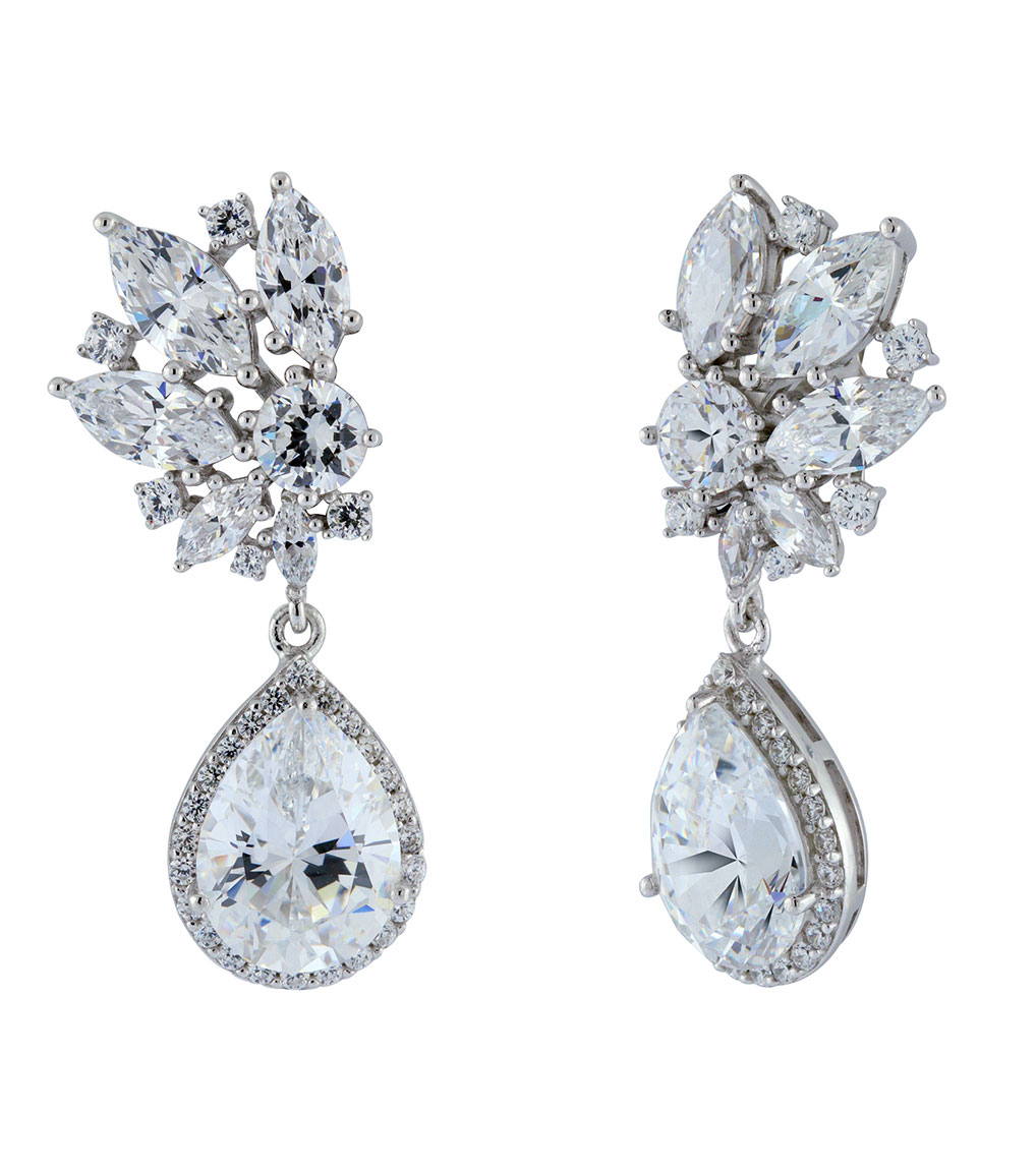 The Ava Burst Teardrops are sterling silver and CZ earrings featured in our Bridal Jewelry Collection.