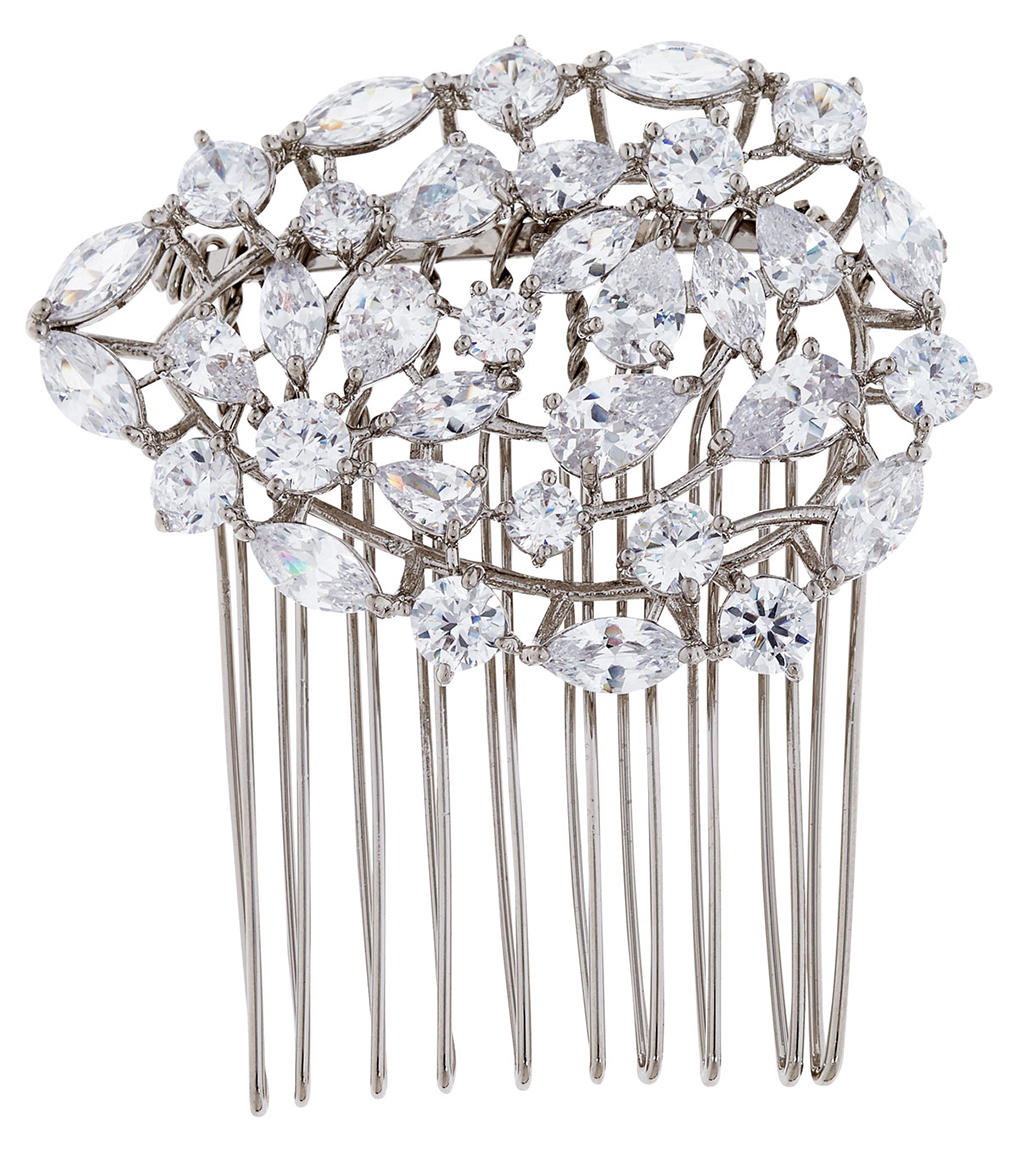The Ava Hair Comb is a brass and CZ hair comb featured in our Bridal Jewelry Collection.