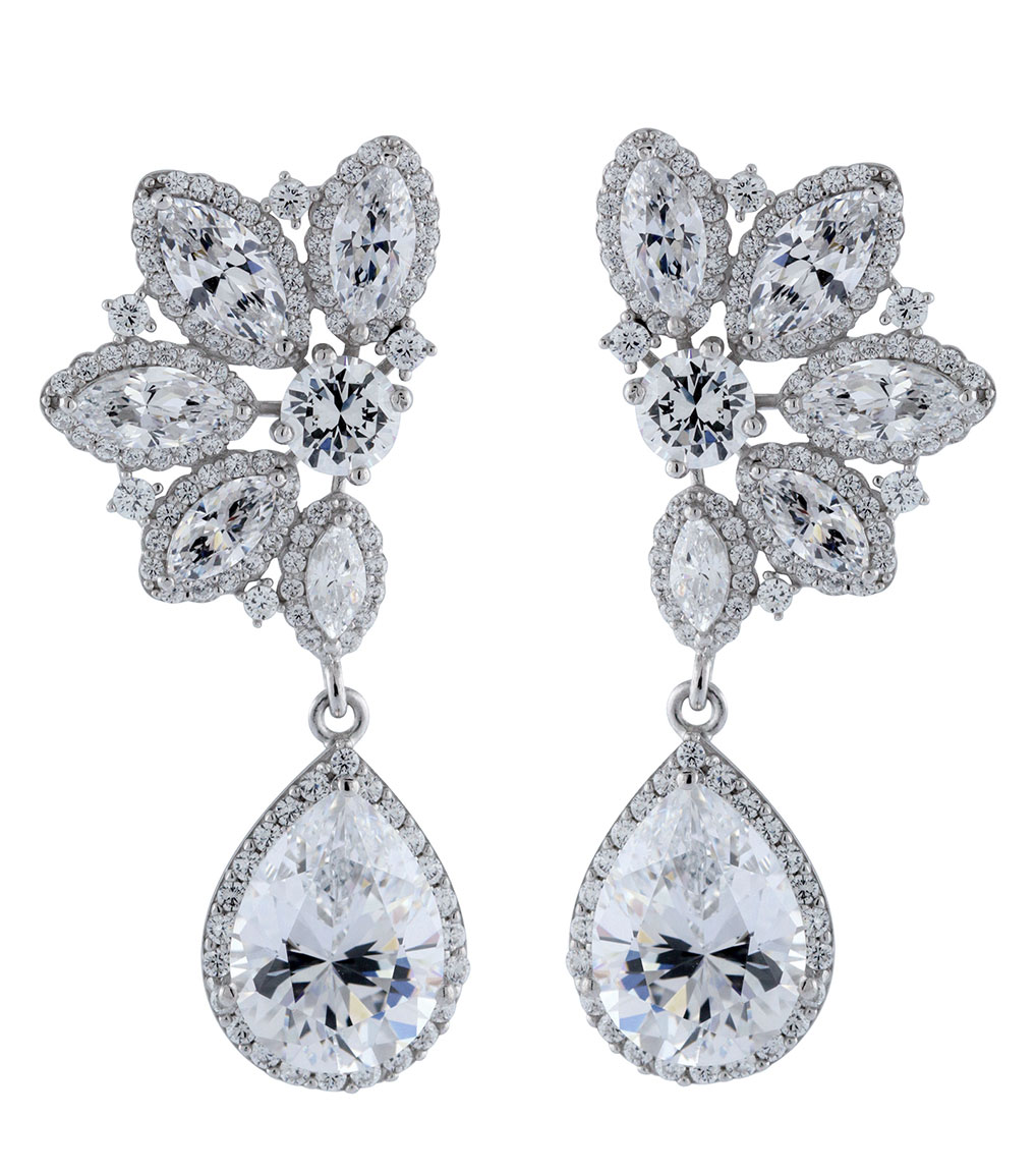 The Ava Halo Teardrops are sterling silver and CZ earrings featured in our Bridal Jewelry and Evening Jewelry Collections.