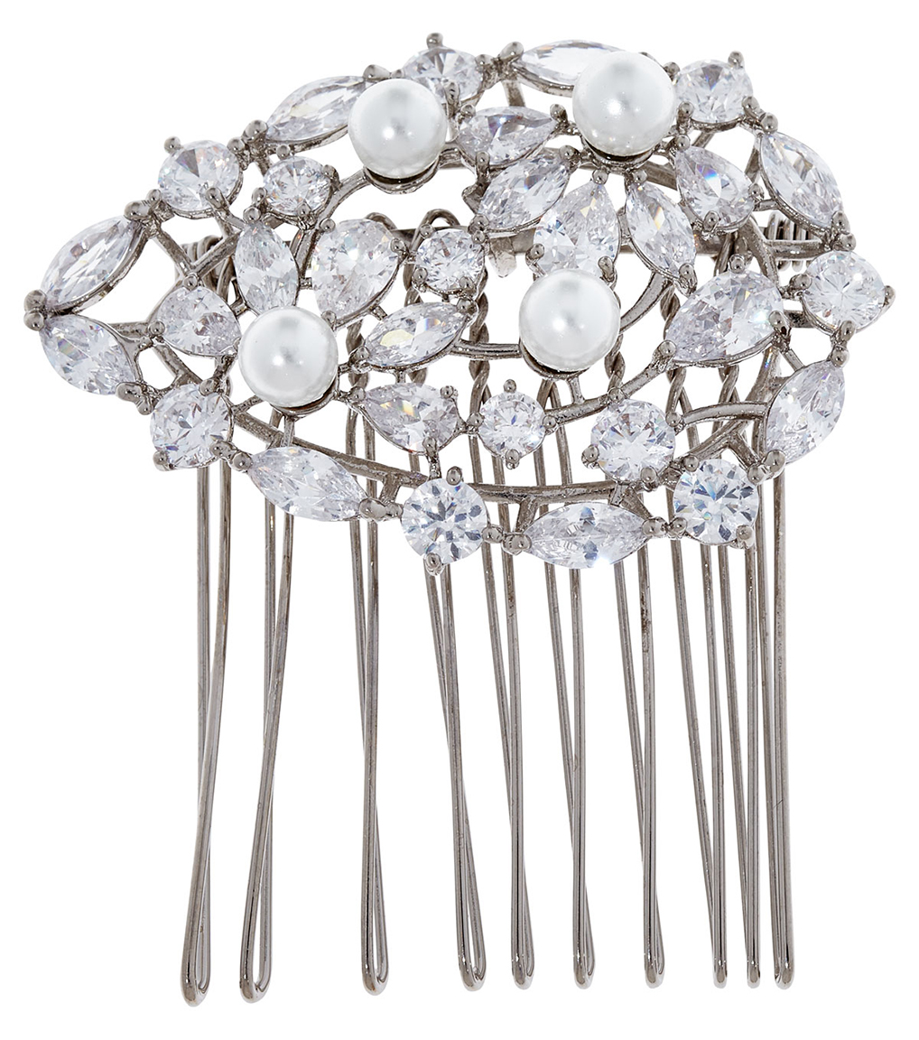 The Ava Pearl Hair Comb is a brass faux pearl and CZ hair comb featured in our Bridal Jewelry Collection.