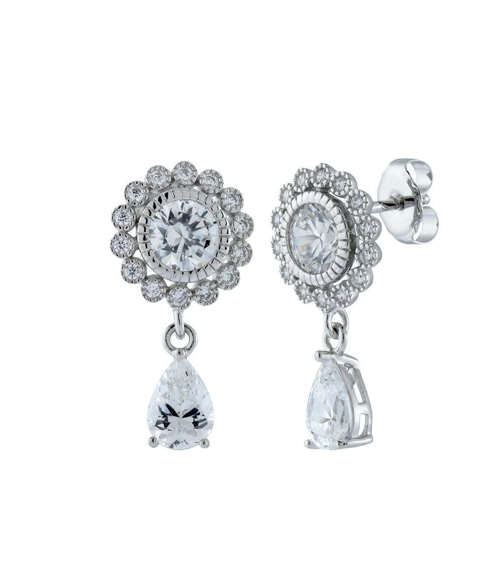 The Ava Petite Teardrops are sterling silver and CZ earrings featured in our Bridal Jewelry Collection.