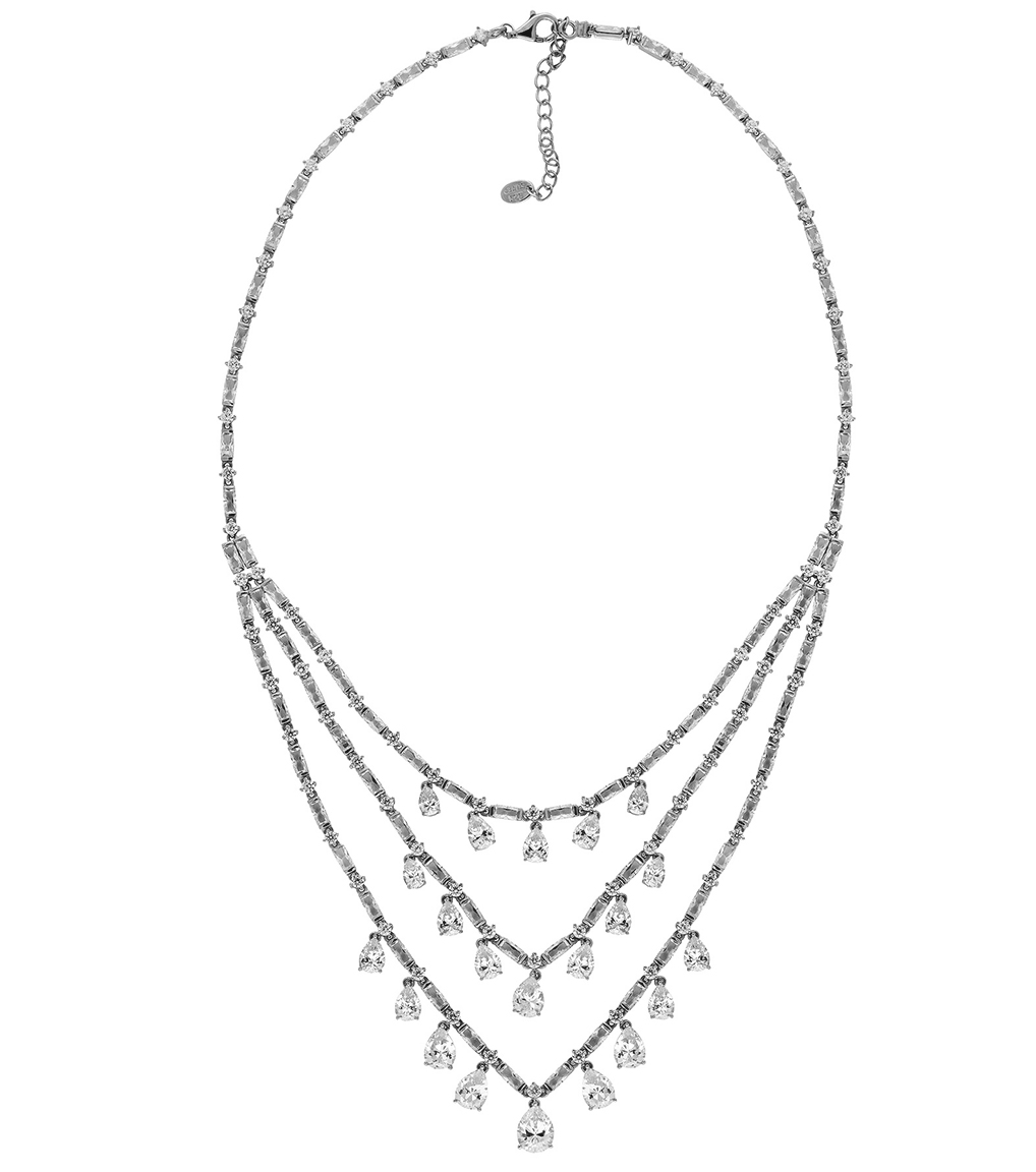 The Ava Teardrop Statement Necklace is a sterling silver and CZ necklace featured in our Bridal Jewelry Collection.