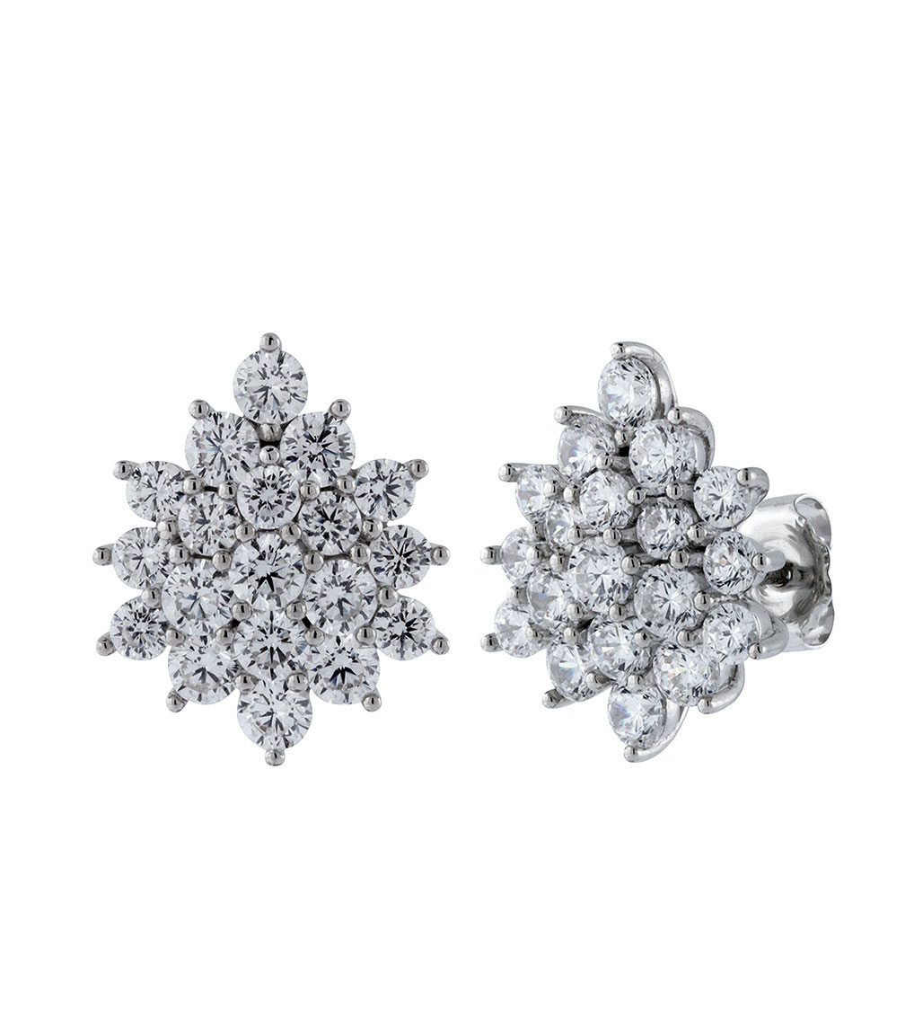 The Grace Clusters are sterling silver and CZ earrings featured in our Signature Jewelry and Bridal Jewelry Collections.