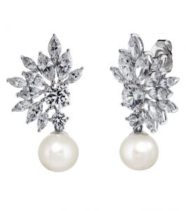 The Grace Marquise Burst Pearl Drops are sterling silver freshwater pearl and CZ earrings featured in our Bridal Jewelry and Evening Jewelry Collections.