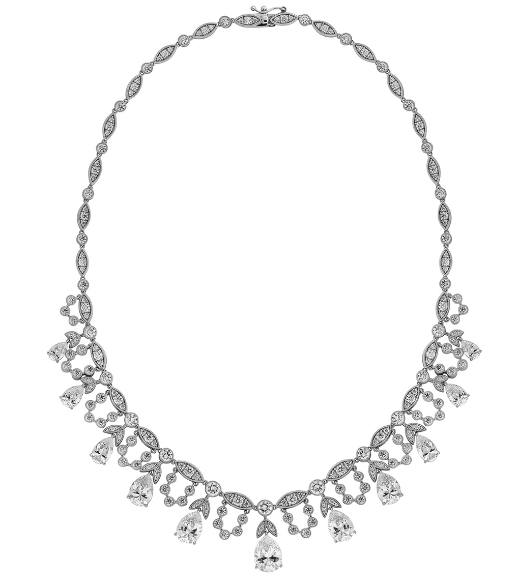 The Grace Pear Statement Necklace is a sterling silver and CZ necklace featured in our Bridal Jewelry and Evening Jewelry Collections.