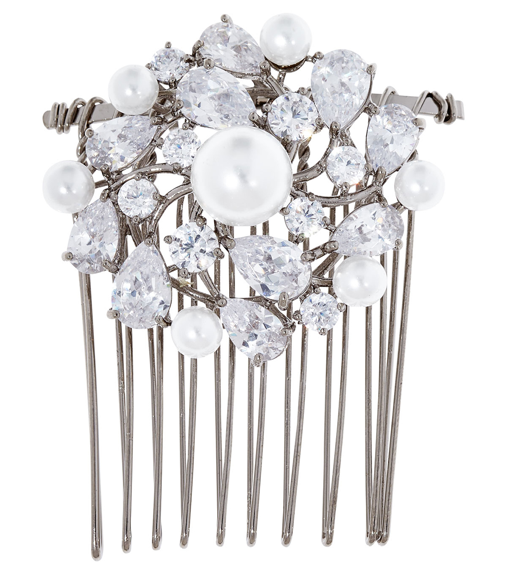 The Grace Pearl Hair Comb is a brass faux pearl and CZ hair comb featured in our Bridal Jewelry Collection.