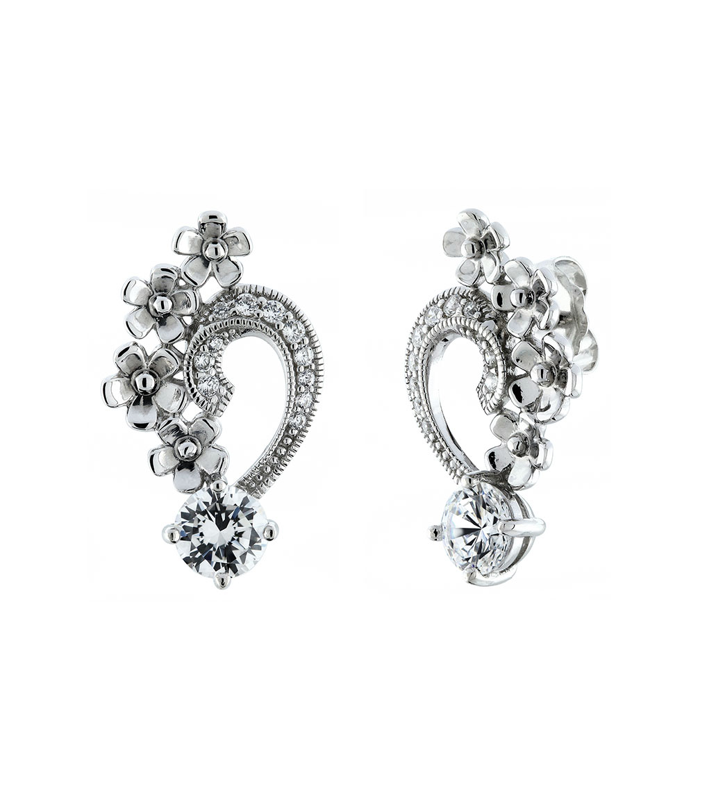 The Grace Petal Earrings are sterling silver and CZ earrings featured in our Bridal Jewelry Collection.