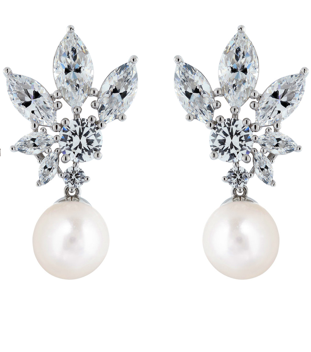 The Grace Petite Marquise Pearl Drops are sterling silver freshwater pearl and CZ earrings featured in our Bridal Jewelry Collection.