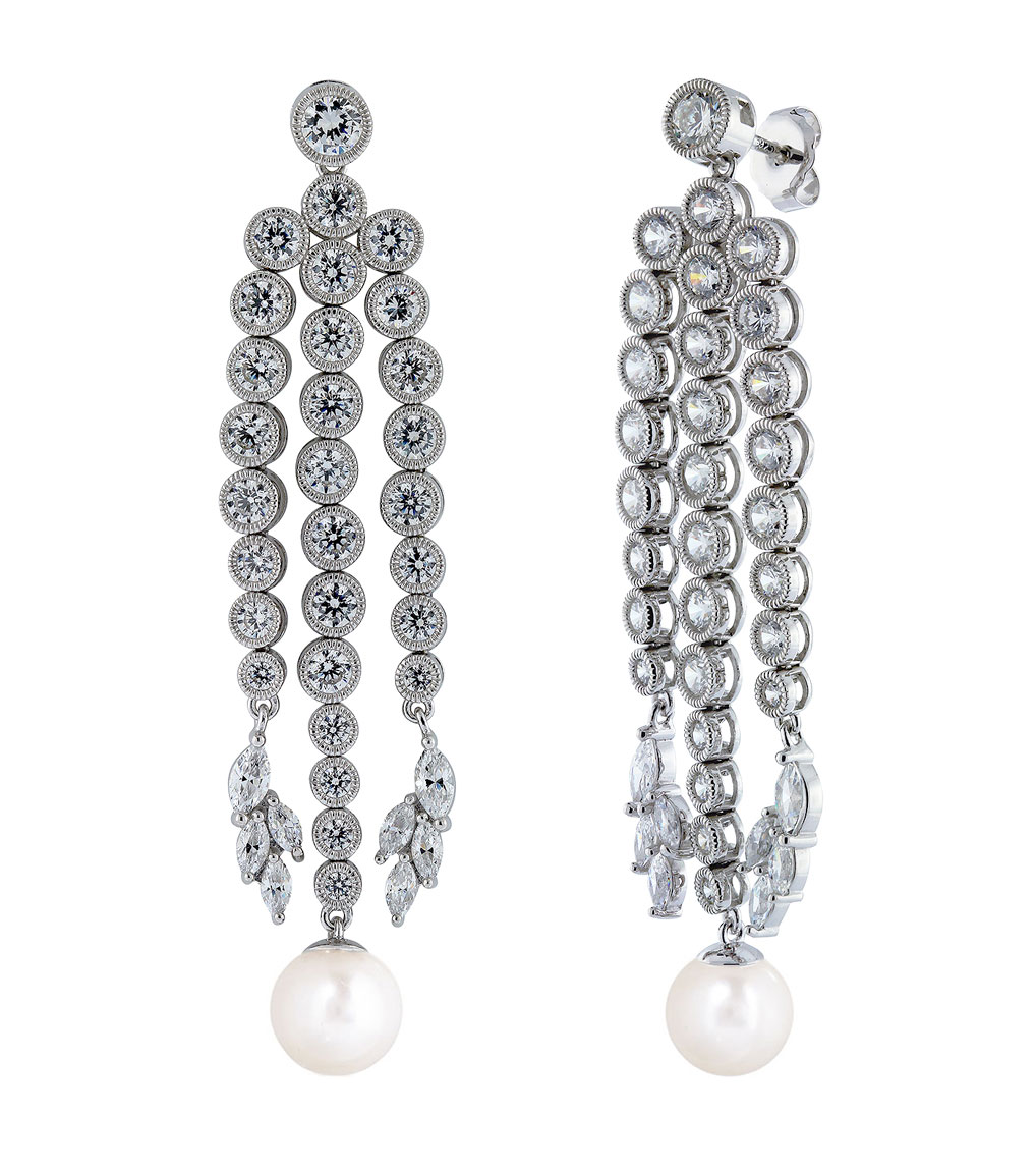 Grace Round Pearl Chandelier Earrings – Cz Chandelier Earrings