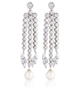 The Grace Round Pearl Chandeliers are sterling silver freshwater pearl and CZ earrings featured in our Bridal Jewelry and Evening Jewelry Collections.