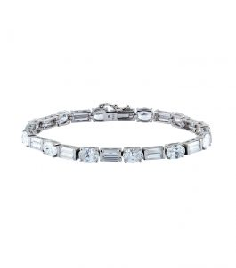 The Liz Baguette and Oval Bracelet is a sterling silver and CZ bracelet featured in our Signature Jewelry Bridal Jewelry and Evening Jewelry Collections.