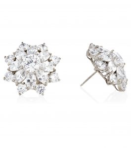 The Liz Garland Bursts are sterling silver and CZ earrings featured in our Signature Jewelry Bridal Jewelry and Evening Jewelry Collections.