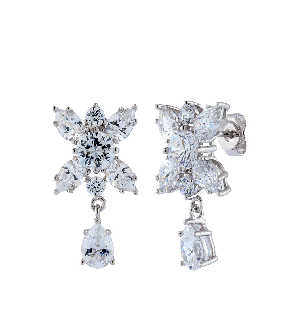 The Liz Garland Drops are sterling silver and CZ earrings featured in our Bridal Jewelry Collection.