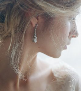 The Liz Long Drops are sterling silver and CZ earrings from our Bridal Jewelry and Evening Jewelry Collections seen here on model.