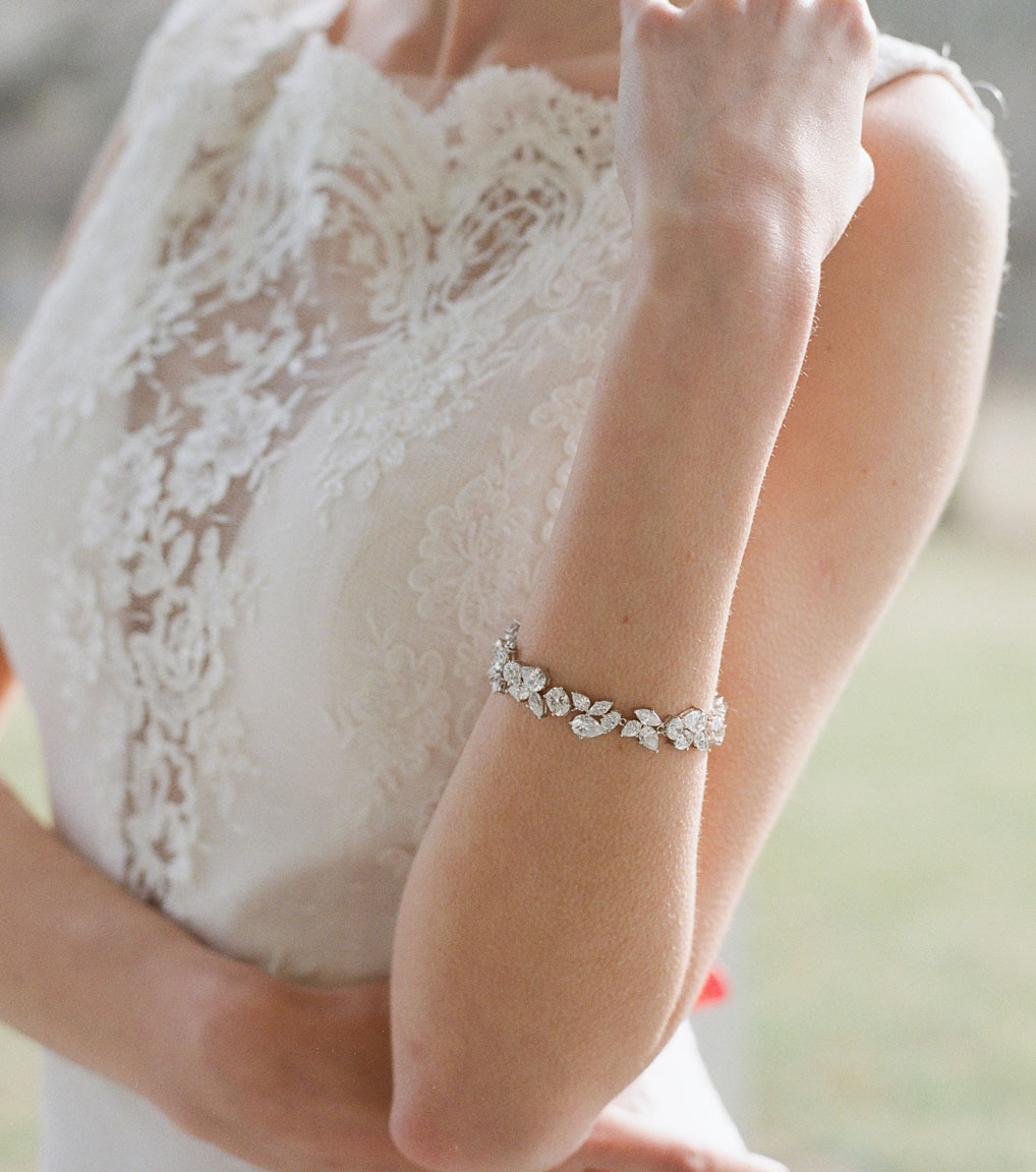 The Liz Multi Cut Bracelet is a sterling silver and CZ bracelet from our Bridal Jewelry Collection seen here on model.
