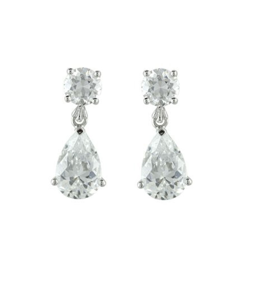 The Liz Teardrops are sterling silver and CZ earrings featured in our Bridal Jewelry and Evening Jewelry Collections.