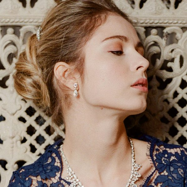 The Liz Teardrops are sterling silver and CZ earrings from our Bridal Jewelry and Evening Jewelry Collections seen here on model.