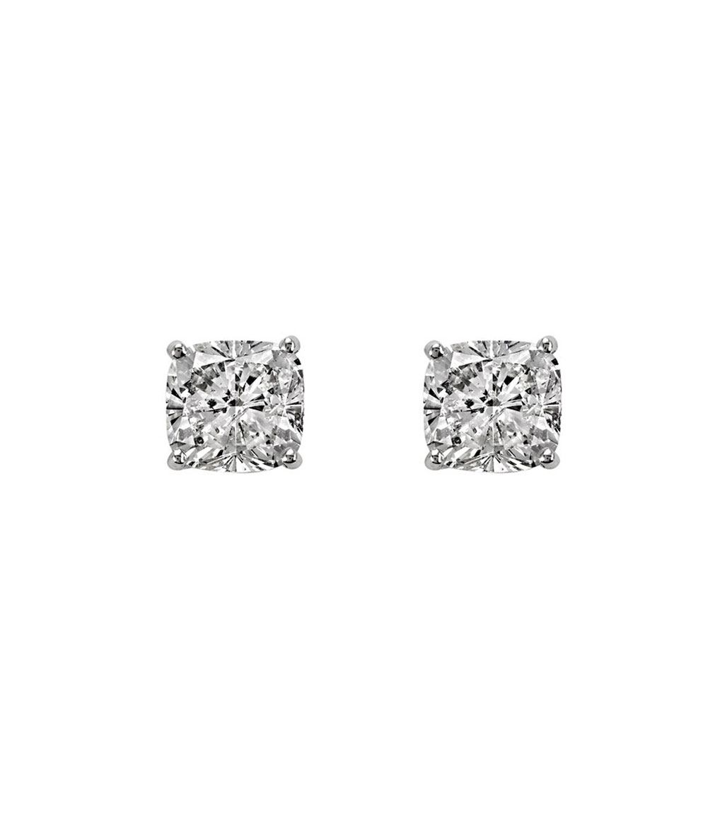 The Lucille 9mm Cushion Cut Studs are sterling silver and CZ earrings featured in our Signature Collection.