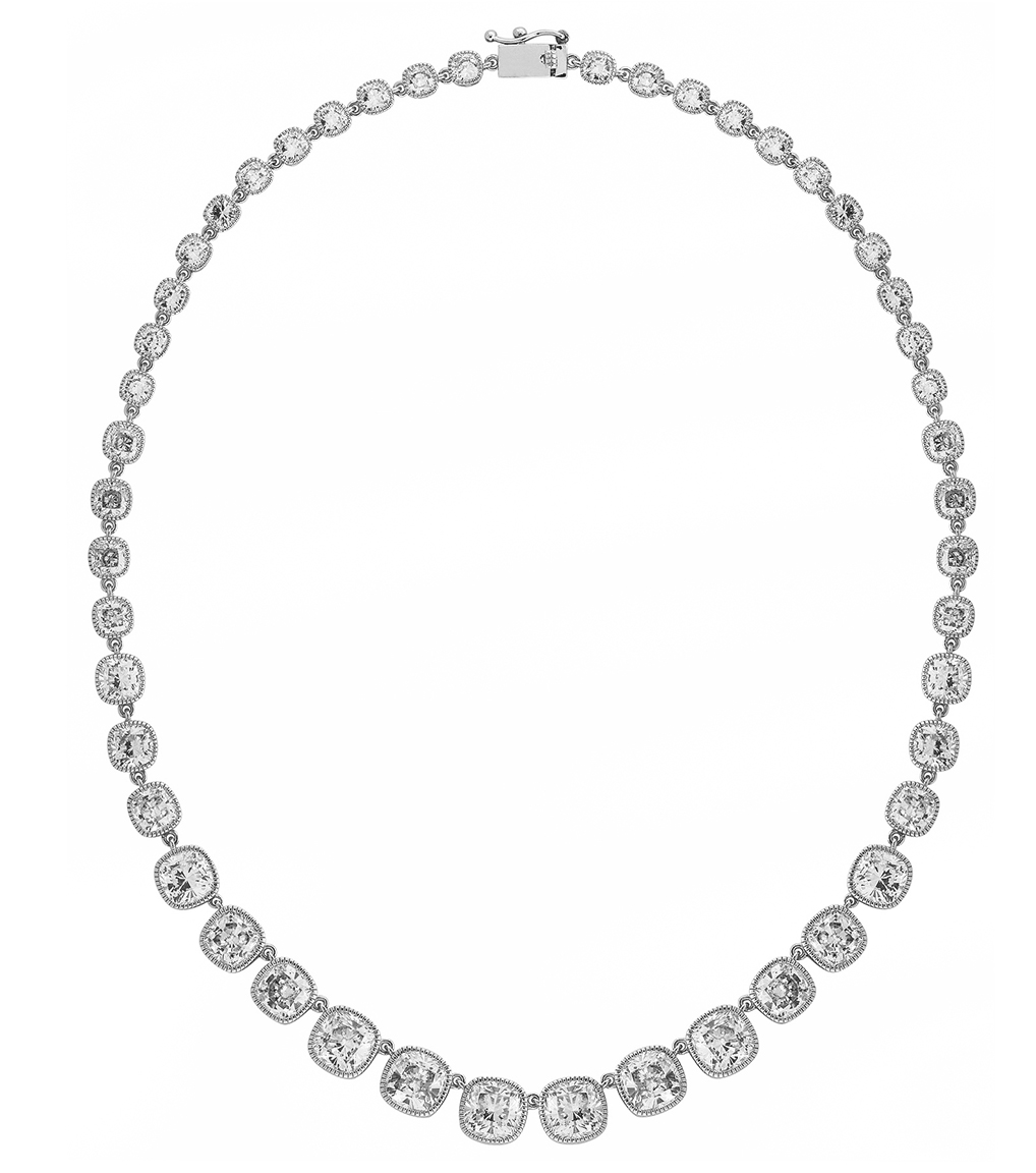 The Lucille Riviera Necklace is a sterling silver and CZ necklace featured in our Signature Jewelry and Evening Jewelry Collections.