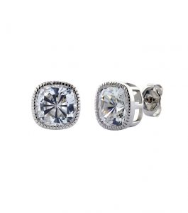 The Lucille Cushion Cut Studs are sterling silver and CZ earrings featured in our Signature Collection.