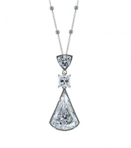 The Lucille Pendant is a sterling silver and CZ pendant featured in our Signature Collection.
