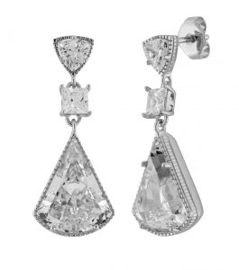 The Lucille Drops are sterling silver and CZ earrings featured in our Signature Collection.