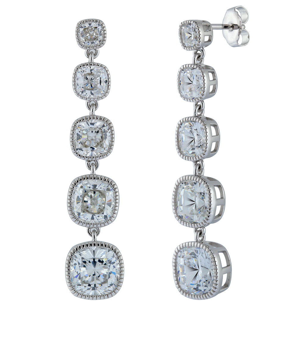 The Lucille Long Drops are sterling silver and CZ earrings featured in our Signature Jewelry and Evening Jewelry Collections.