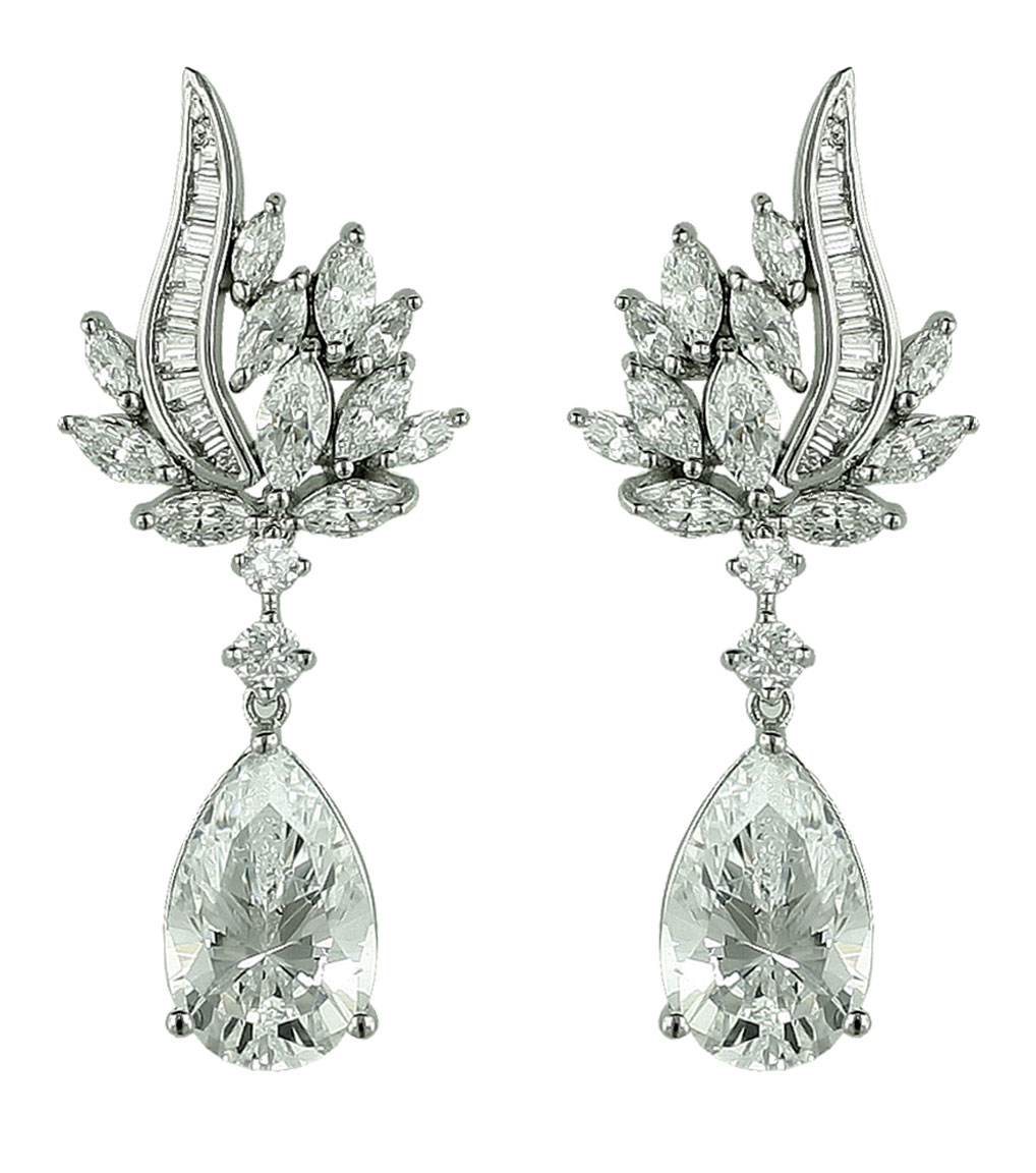 The Rita Marquise Burst Drops are sterling silver and CZ earrings featured in our Bridal Jewelry and Evening Jewelry Collections.