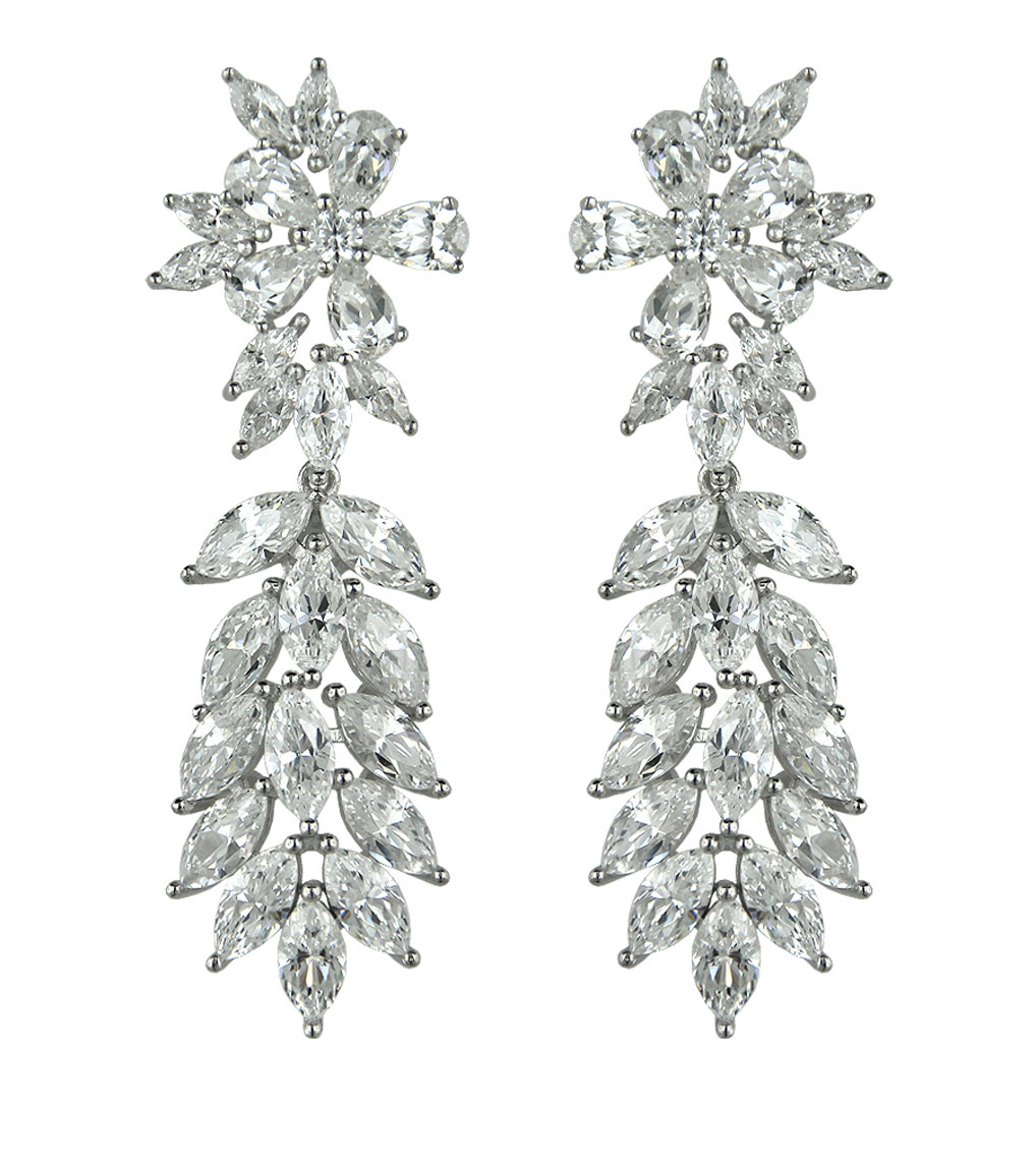 The Rita Marquise Burst Statement Earrings are sterling silver and CZ earrings featured in our Bridal Jewelry Collection.