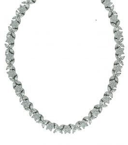 The Rita Marquise Cluster Necklace is a sterling silver and CZ necklace featured in our Bridal Jewelry Collection.