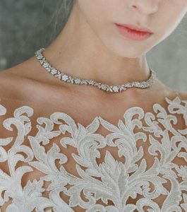 The Rita Marquise Cluster Necklace is a sterling silver and CZ necklace from our Bridal Jewelry Collection seen here on model.