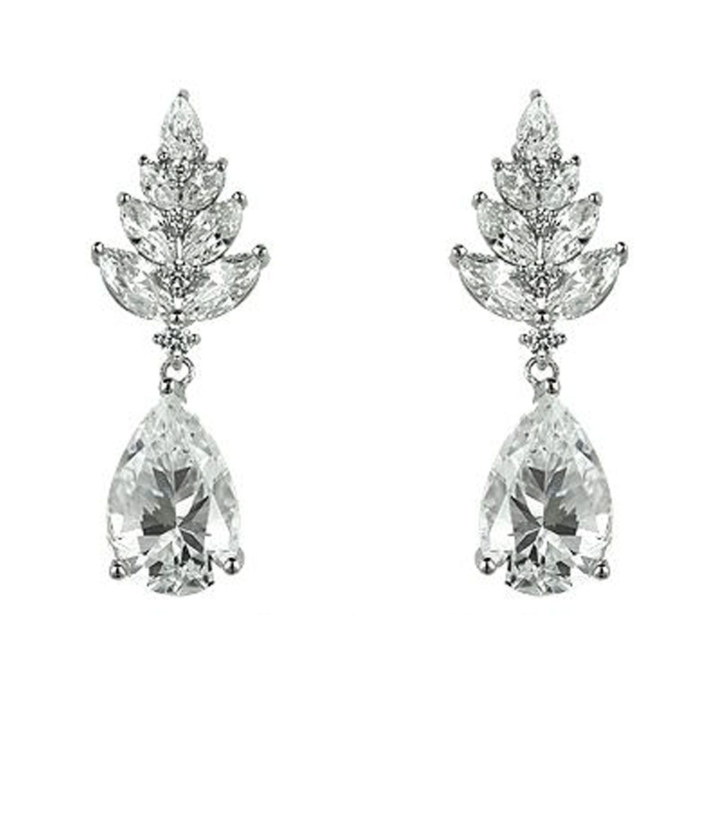 The Rita Marquise Leaf Drops are sterling silver and CZ earrings featured in our Signature Jewelry and Bridal Jewelry Collections.
