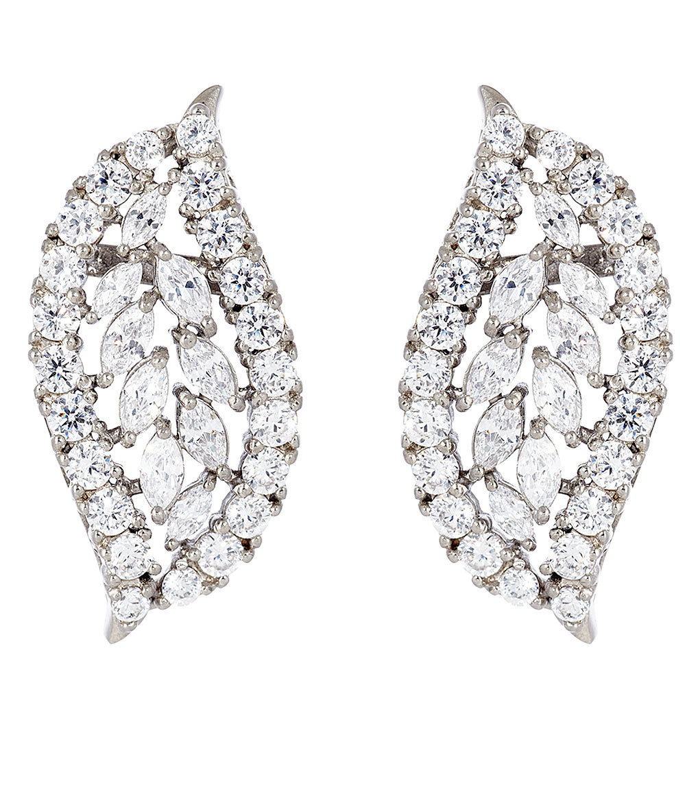 The Rita Vintage Swirl Clusters are sterling silver and CZ earrings featured in our Signature Jewelry and Evening Jewelry Collections.